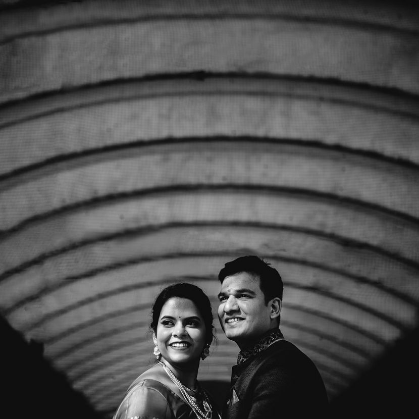 Couple portrait taken during maharashtrian wedding in Siddharth palace pune